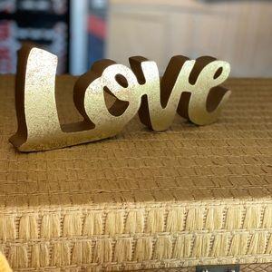 "Hobby Lobby vintage gold wood ""love"" block"